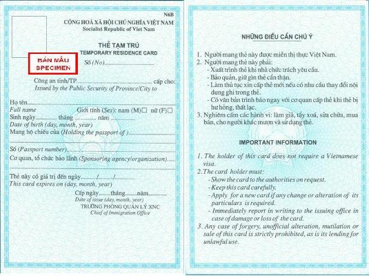 Dịch vụ làm thẻ tạm trú cho người nước ngoài ở Việt Nam